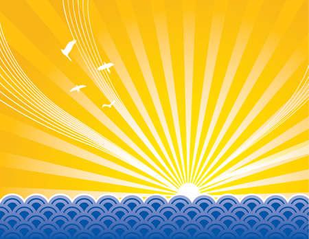 sol naciente: Sun elev�ndose sobre representaci�n art�stica del oc�ano. Todos los elementos separan.