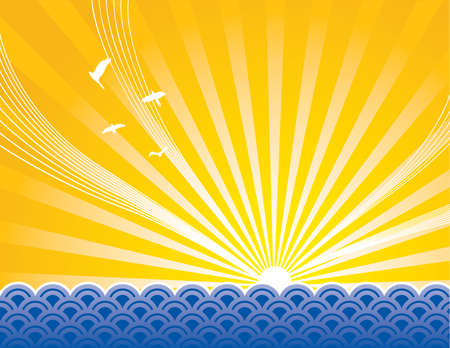Sun rising over artistic rendering of ocean. All elements separated. Stock Vector - 7085161