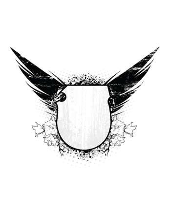 war paint: Escudo de grunge con las alas y el �rea de texto. Todos los elementos separan.