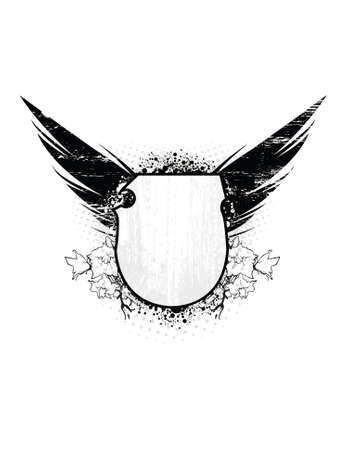 text area: Grunge Shield with wings and text area. All elements separated.