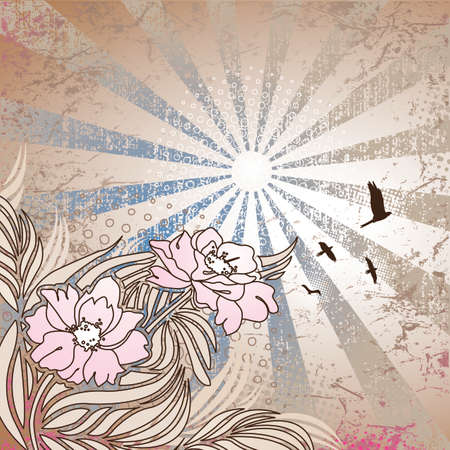 Flowers and birds on grunge sun ray background, all elements separated and easily edited.