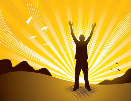 gratitudine: Silhouette di persona al tramonto. Elementi separati. Vettoriali