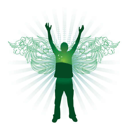 gratitude: Silhouette of person with floral wings. All elements separate.
