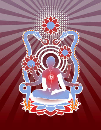 Person in lotus position on detailed dragon background. All elements separate.