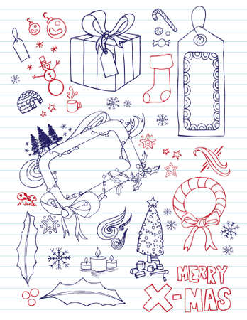 Variety of hand drawn Christmas elements. Separated elements. Vettoriali
