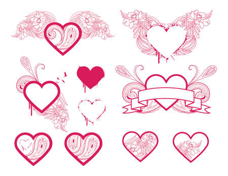 Selection of detailed heart designs. Separated elements. Ilustracja