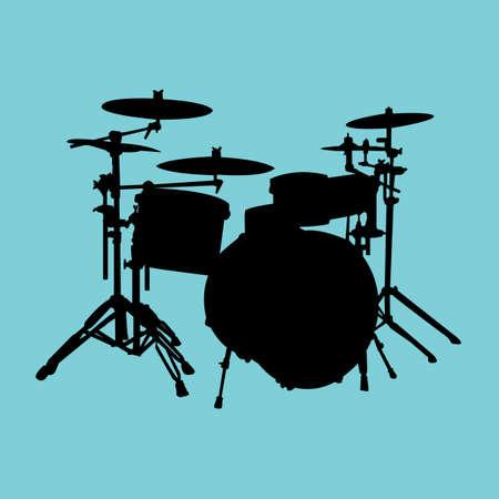 Silueta de kit de tambor aislados.  Ilustración de vector
