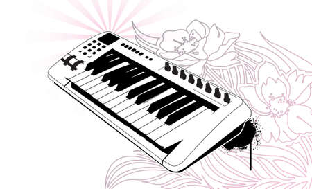 Keyboard on floral background. Separated elements.