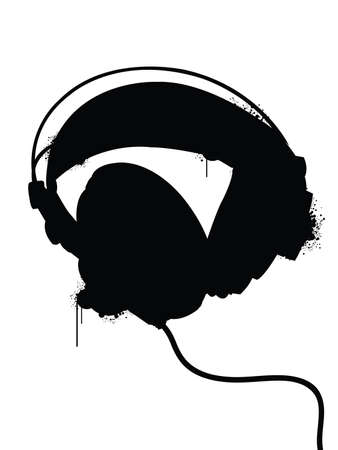 Headphones silhouette with spraypaint drips.