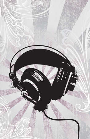 Headphones on etched background. Separated layers.  Vector