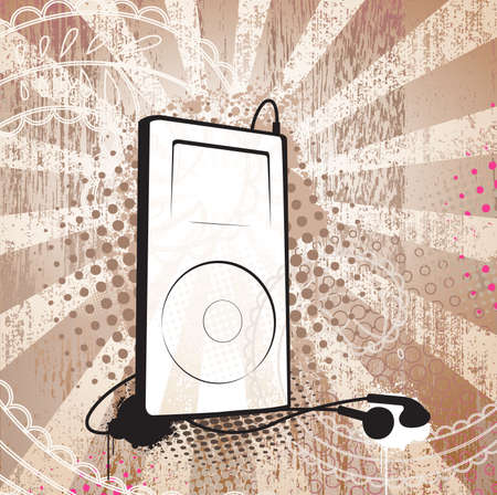 MP3 player on textured background. Seprated elements.