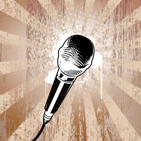 Microphone on textured background. Separated elements. Vector