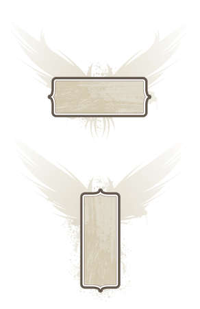 Two woodgrain plaques with wings. Separate elements.