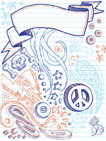Variety of hand drawn images on notepaper. All separate elements. Illustration