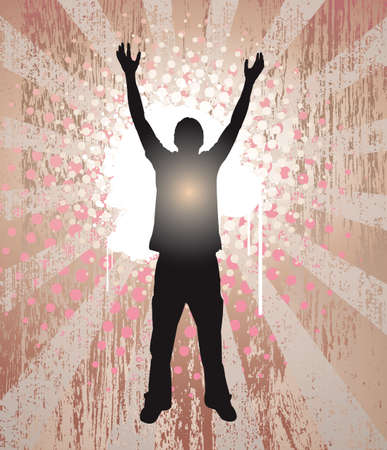 Young man reaching for the sky in celebration, seen in silhouette, glowing from within. Illustration