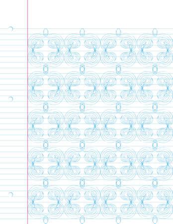 ノートブック紙の上の手の描かれたパターンを繰り返します。簡単に編集します。  イラスト・ベクター素材