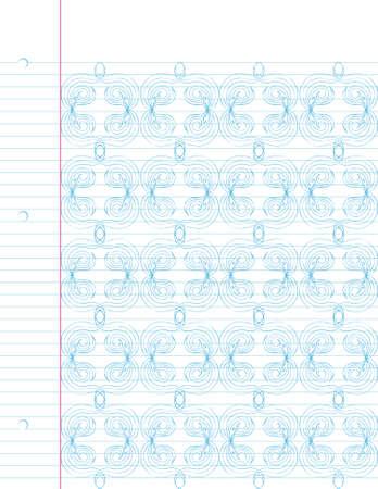 Repeating hand drawn pattern on notebook paper. Easily edited.