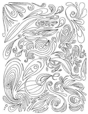 Large selection of hand drawn paisley. All elements on separate layers, easily edited. Ilustracja