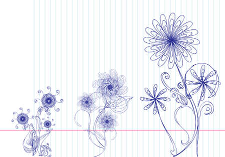 Selection of hand drawn flowers on lined paper. All elements on separate layers, easily edited. Vector