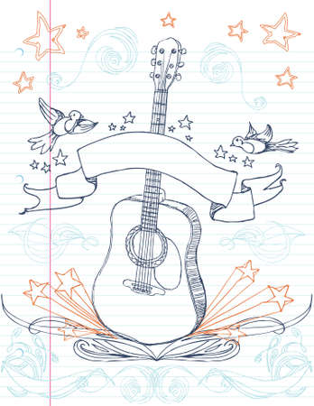 acoustic: Hand drawn guitar and designs on lined paper. All elements on separate layers, easily edited.  Illustration