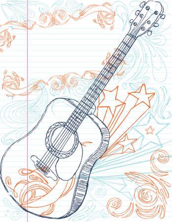 lapiz y papel: guitarra dibujado de mano con el cuadro de texto de gran tama�o. todos los elementos en capas separadas, editadas con facilidad.