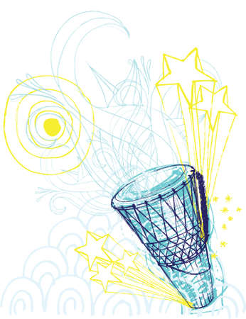 Sketchy style drawing of hand drum with other hand drawn elements. Separate elements.  Illustration