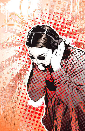 Man listening to headphones on highly detailed background. Separate elements.  Illustration