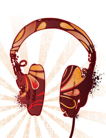Headphones on ray bakground with floral motif. Separate elements.  Ilustração