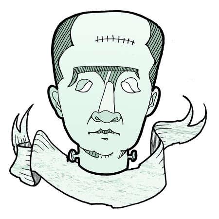 Frankenstein Halloween Banner. Easily edited.
