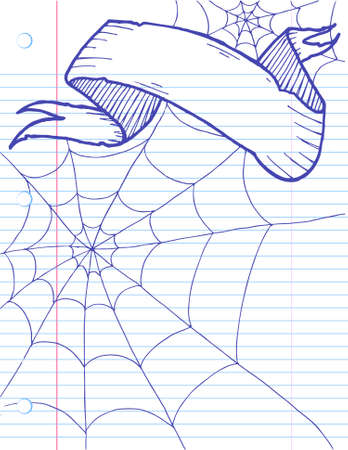 Halloween Doodle banner on lined notebook paper. Easily edited.