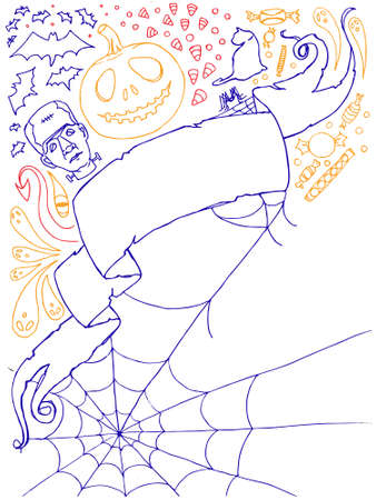 Halloween doodles with banner and copy space. All elements separated. Easily edited. Illustration