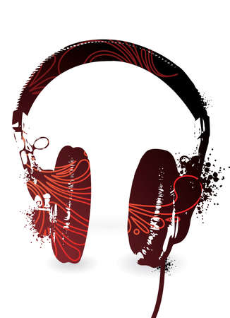 Simple headphones silhouette with floral inclusion. Separate elements.