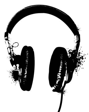 Stencil like image of headphones. Easily edited.