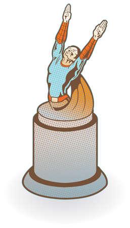 Super hero award or statue. Easily edited.  Ilustracja