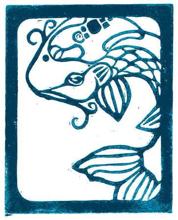 woodcut: Blue outline Koi Woodblock lino cut.
