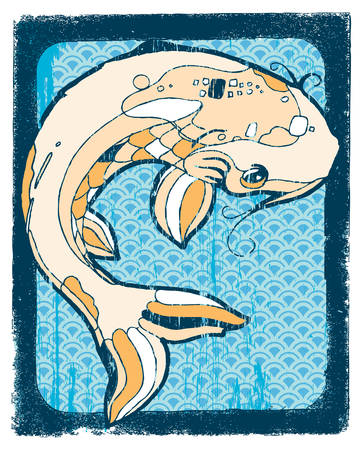 Large orange Koi on woodblock background. Easily edited.