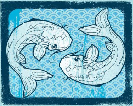 Deux bleu Koi sur fond de gravure sur bois. Tous les éléments sur des calques distincts.  Banque d'images - 7112419