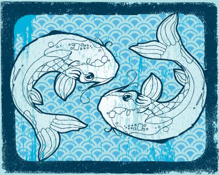 Two blue Koi on woodcut background. All elements on separate layers. Illustration