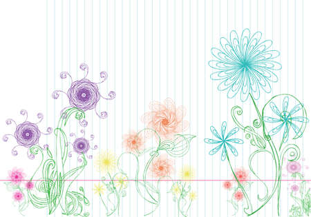 Variety of colored hand drawn floral doodles. All separate and easy to edit. Illustration