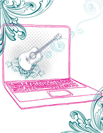 Hand drawn lap top with guitar desktop. Separated elements, easy to edit.