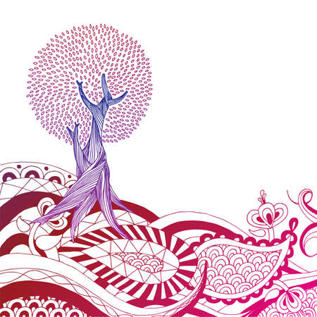 Detailed hand drawn tree on henna style landscape. Easily edited.  Vector