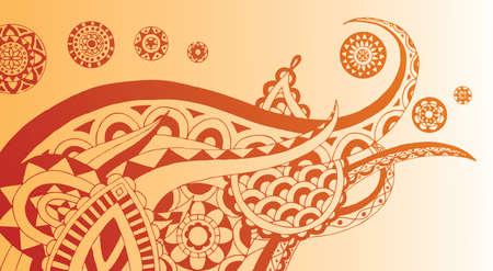Detailed henna style doodle with essence of elephant. Easily edited.  Ilustracja