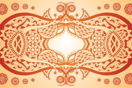 Cool reflection henna style doodle. Easily edited.  Vector