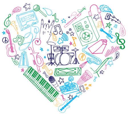 Felgekleurde muziek doodles.