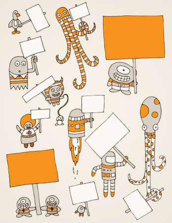 Sélection de main dessiné les monstres à chaque exploitation un signe prêt pour le texte.  Banque d'images - 7425290