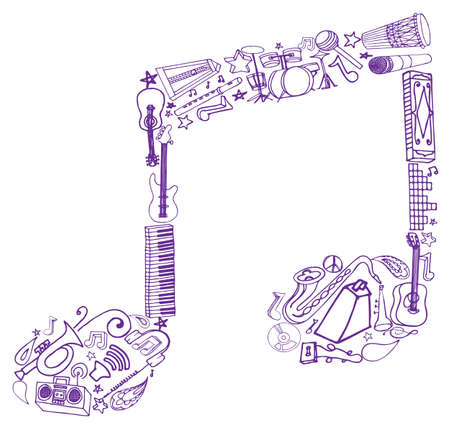 Variety of hand drawn music related images arranged into a note shape.  Vector
