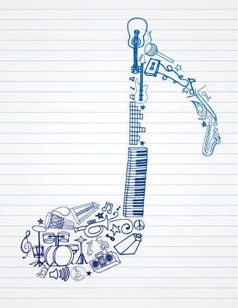 Selección de música doodles sobre el papel rayado en forma de una nota musical.  Ilustración de vector