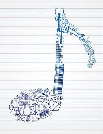 Selection of music doodles on lined paper shaped like a musical note.