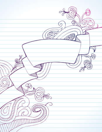 Hand drawn banner crosses page diagonally surrounded by doodles on lined paper. Illustration