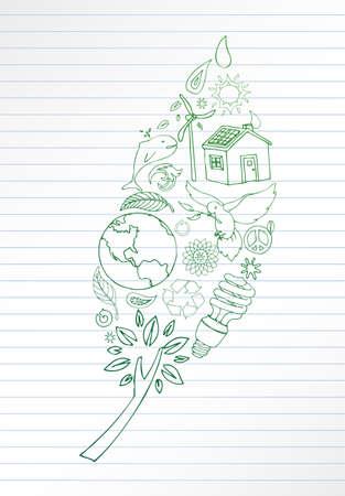Selectie van hand getrokken aarde vriendelijke beelden make-up blad vorm. Ruimte voor uw tekst op gelinieerd papier.